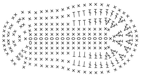 Схема подошвы пинеток крючком